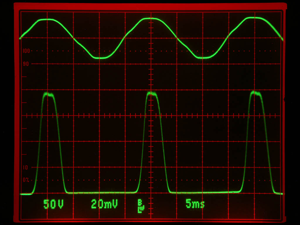 Mains voltage (top) and xray output pulses from my xray radiator (bottom). SFH203 photodiode used as xray sensor with bandwidth of about 10kHz. The fl...