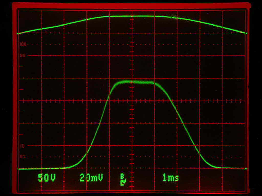 Mains voltage positive half-wave (top) and xray output pulse from my xray radiator (bottom). SFH203 photodiode used as xray sensor with bandwidth of a...