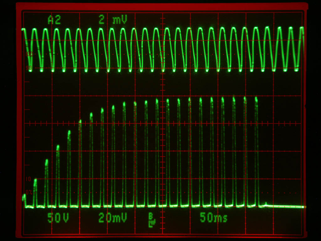 Short run of xray transformer - warm-up of cathode filament can be seen. Also note the distortion of the mains waveform while the transformer is runni...