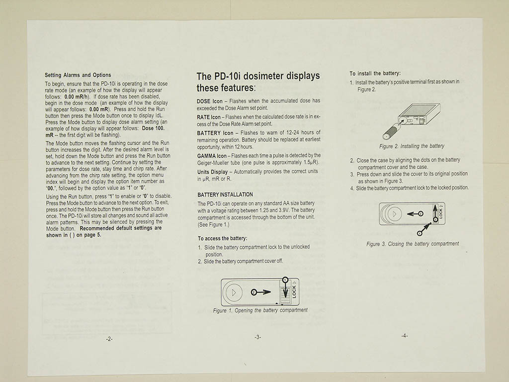 SAIC PD-10i/PD-12i gamma dosimeter user manual