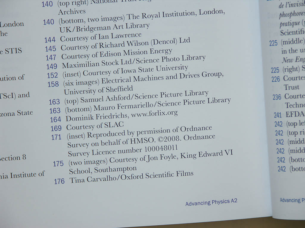 Acknowledgment for my dental x-ray tube photo in the Advancing Physics A2 students textbook