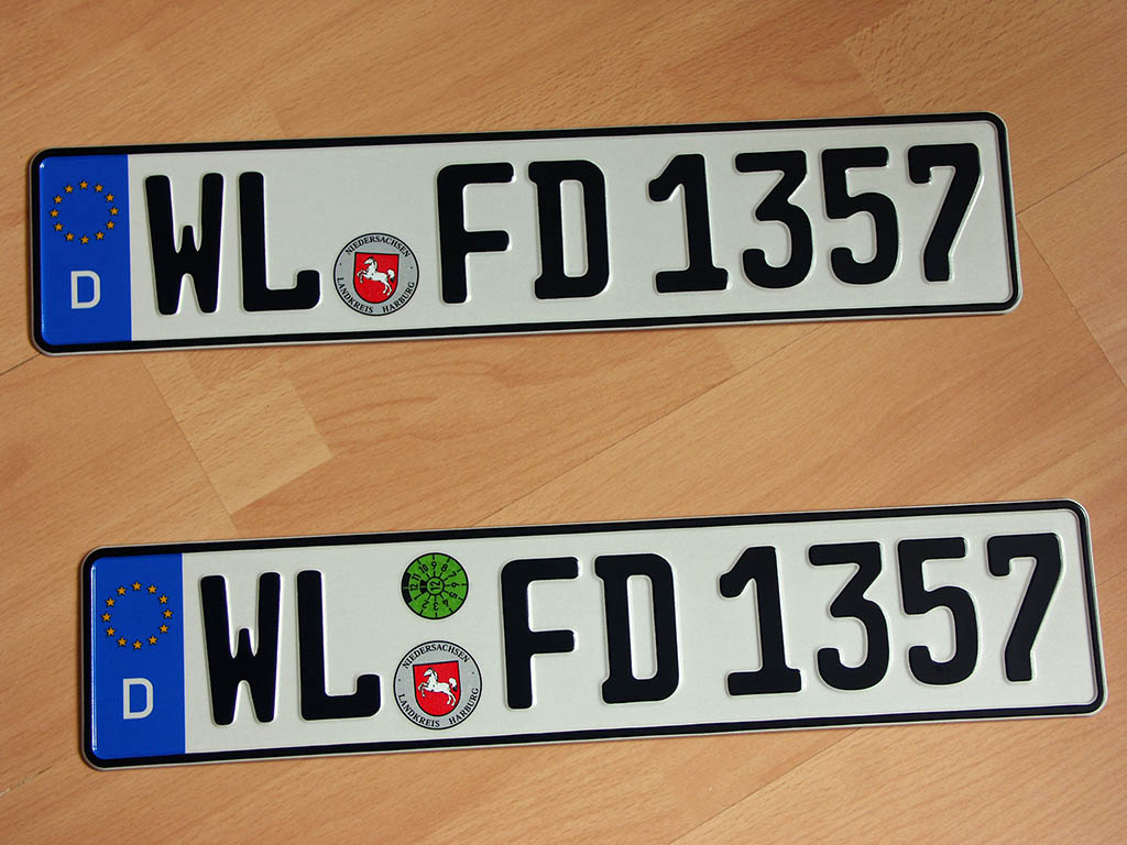 "License plates for Landkreis Harburg (district town: Winsen/Luhe), Germany. ""FD1357"" was chosen by me. Finally they've been sealed, as I've ..."